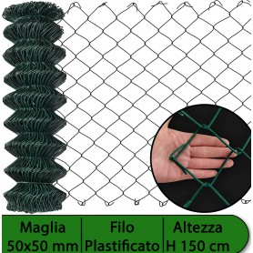 2PZ Rete per recinzione PLASTIFICATA | Altezza H 150 cm | Maglia sciolta 50x50 mm | Filo Ø 2,3 mm | Lughezza Rotolo da 25 mt per