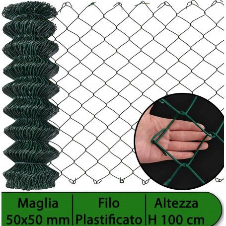 2PZ Rete per recinzione PLASTIFICATA | Altezza H 100 cm | Maglia sciolta 50x50 mm | Filo Ø 2,3 mm | Lughezza Rotolo da 25 mt per