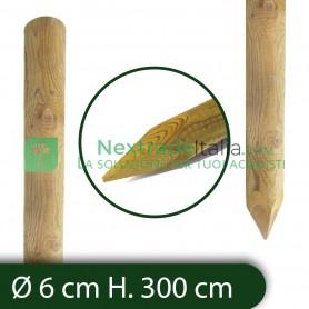10PZ Pali in legno Ø CM 6 altezza CM 300 H tondi CON PUNTA trattati impregnati per recinzione per staccionata/steccato Palo Tond