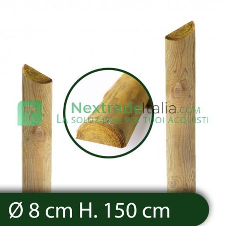 10PZ Mezzi Pali tondi in CM 8 lunghezza CM 150 H legno trattati impregnati per recinzione/staccionata/steccato Mezzo Palo Tondo
