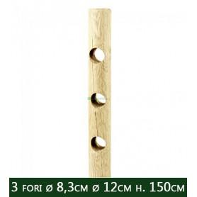 5PZ Pali in legno Ø CM 12x150 H Ø 3 fori passanti Ø 8,3 CM per recinzione trattati impregnati per staccionata e steccato Palo To