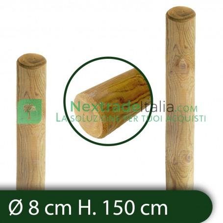 10PZ Pali in legno Ø CM 8 altezza CM 150 H tondi SENZA PUNTA trattati impregnati per recinzione staccionata/steccato Palo Tondo
