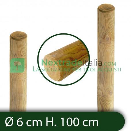 10PZ Pali in legno Ø CM 6 altezza CM 100 H tondi SENZA PUNTA trattati impregnati per recinzione staccionata/steccato Palo Tondo