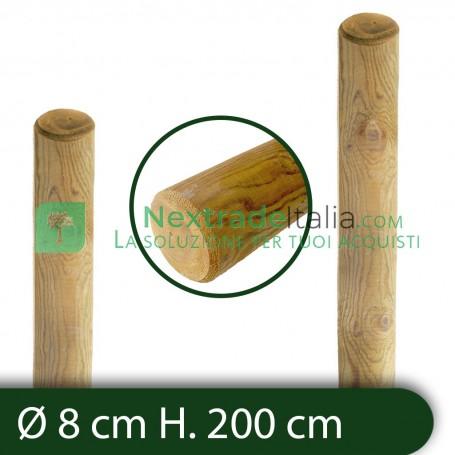 10PZ Pali in legno Ø CM 8 altezza CM 200 H tondi SENZA PUNTA trattati impregnati per recinzione staccionata/steccato Palo Tondo