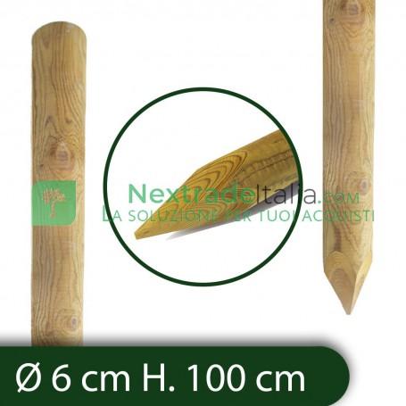 10PZ Pali in legno Ø CM 6 altezza CM 100 H tondi CON PUNTA trattati impregnati per recinzione staccionata/steccato Palo Tondo