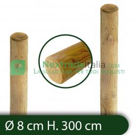 10PZ Pali in legno Ø CM 8 altezza CM 300 H tondi SENZA PUNTA trattati impregnati per recinzione staccionata/steccato Palo Tondo