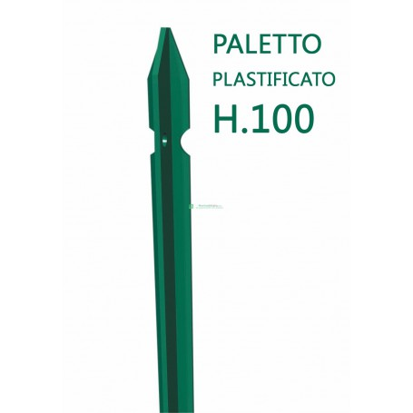 Paletto a T altezza 100 CM sezione mm 30x30x3 PLASTIFICATO Palo Verde da GIARDINO recinzione in ferro