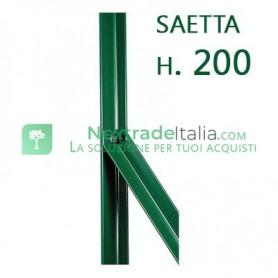 Saetta di sostegno a L H 200 CM 25x25x3 mm PLASTIFICATA per paletti in ferro a T da H 225 e 250 | recinzioni da GIARDINO