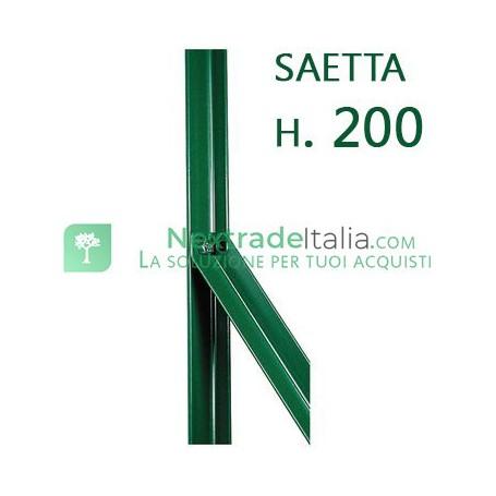Saetta di sostegno a L H 200 CM 25x25x3 mm PLASTIFICATA per paletti in ferro a T da H 225 e 250   recinzioni da GIARDINO
